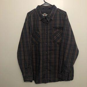 Harley Davidson plaid button down shirt brown 2XL